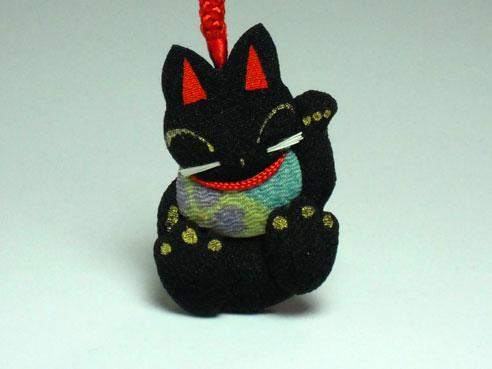 ちりめん細工ストラップ 黒猫